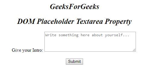 HTML | DOM Textarea placeholder Property - GeeksforGeeks