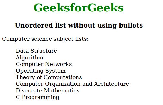 unordered list
