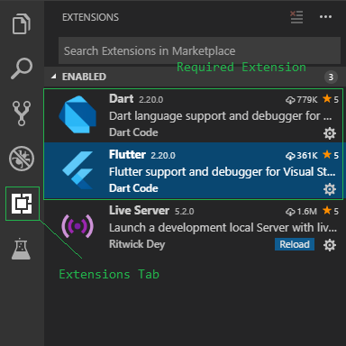 VS Code Extensions to be installed